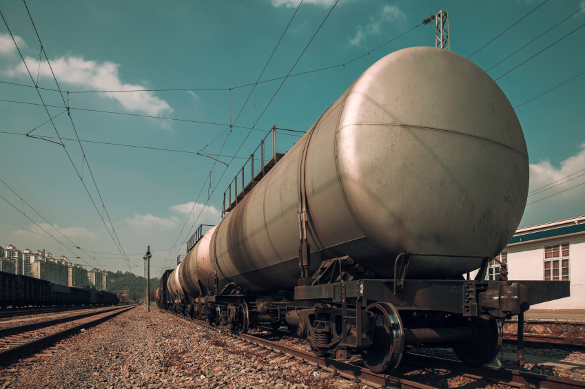 Fuel petrol tanks train on the railway